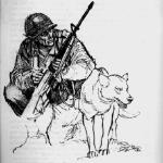 Bien Hoa, RVN 1967 US sentry dog guarding the base.  Drawing: Charles Waterhouse